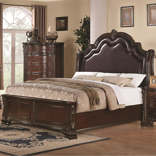 Maddison Queen Bed with Upholstered Headboard