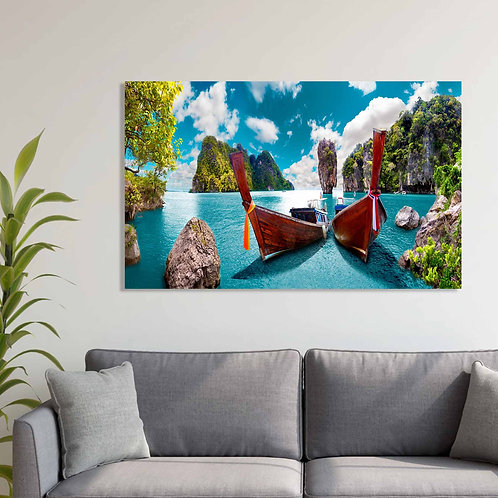 #070 ISLAND WITH BOATS GLASS WALL ART