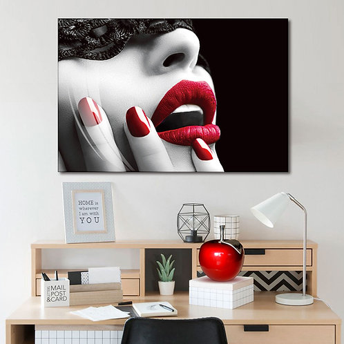 #008 LACE MASK RED LIPS GLASS WALL ART