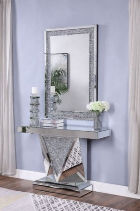 #001 MIRRORED & FAUX DIAMONDS CONSOLE TABLE