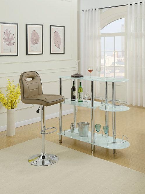 #007 BAR TABLE - GLASS WHITE