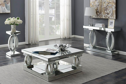 Contemporary Silver Mirrored Coffee Table Set