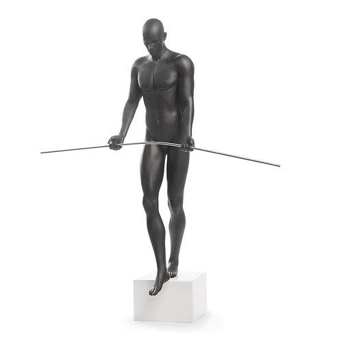#021 BALANCING MAN SCULPTURE BLACK