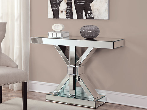 #021 REVENTLOW X-SHAPED BASE CONSOLE TABLE & CLEAR MIRROR