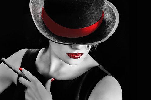 Cigar W/Red Lips Glass Wall Art