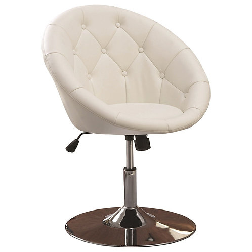 Dining Chairs and Bar Stools Contemporary Round Tufted White Swivel Chair