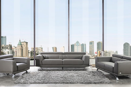 Brustle Modern Dark Grey Eco-Leather Sofa Set