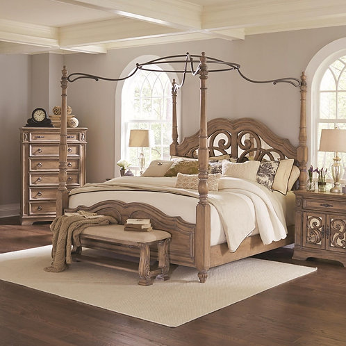 Ilana Queen Canopy Bed with Mirror Back Headboard