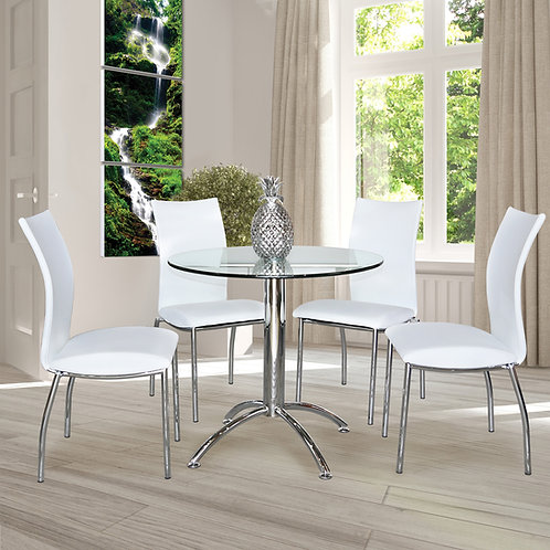 Bistro Table With Clear Tempered Glass Top