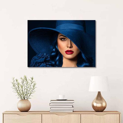 #083 WOMEN WITH BLUE HAT GLASS WALL ART