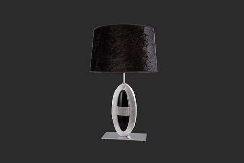 Black shade and center assent chrome lamp