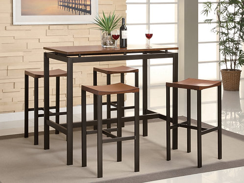 #005 DINING SETS BLACK & BROWN COUNTER HEIGHT-5PCS