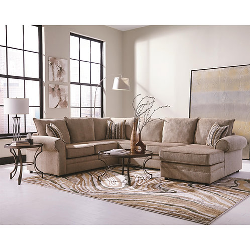 #011 Fairhaven Rolled Arm Sectional Cream Herringbone