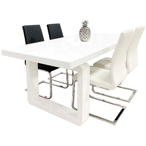 #050 WHITE GLOSS DINING SET