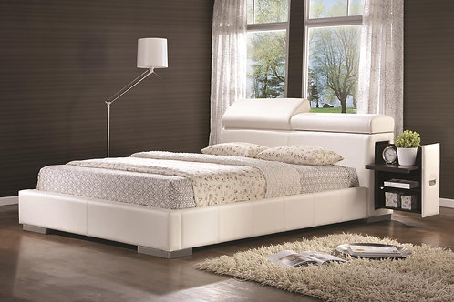 Maxine Leatherette Upholstered Queen Bed with Pull-Out Drawer