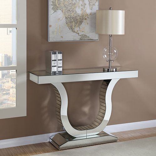#020 SET CONSOLE TABLE WITH U-SHAPED BASE CLEAR MIRROR