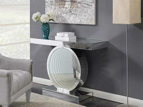 #022 CONSOLE TABLE WITH CIRCULAR BASE & CLEAR MIRROR