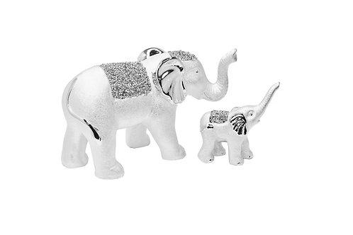 SILVER ELEPHANT & SON SET