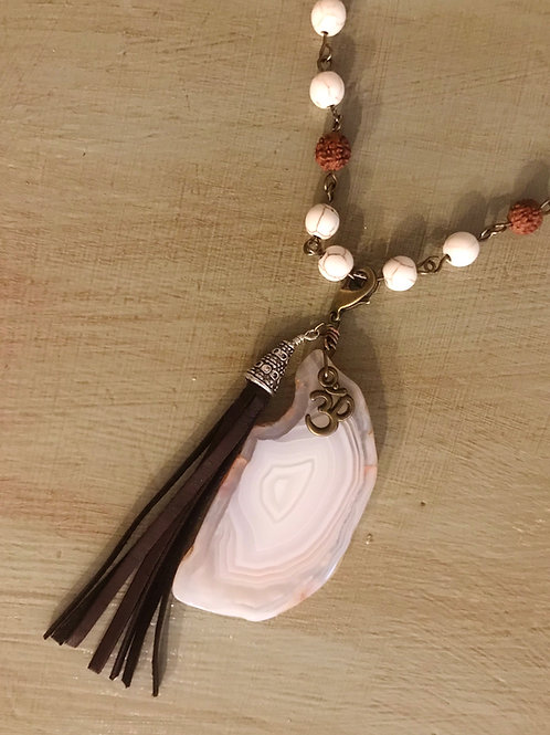 Howlite & Bohdi Seed Necklace