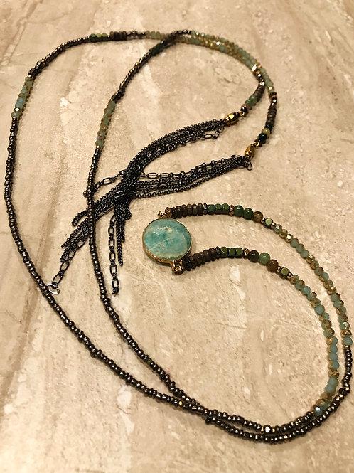 Stone and Chain Choker - Teal