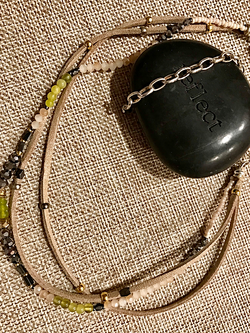 Leather and Bead Choker Lime