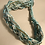 Thumbnail: Crystals Beads & Chain Braid Bracelet-Aqua