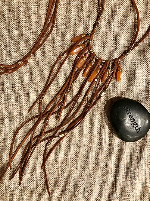 Orange Agate Fringe Leather Choker