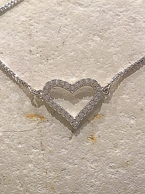 Silver Crystal Heart Bracelet