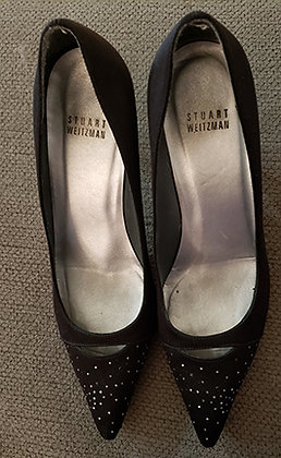 Stuart Weitzman Signed Black and Crystal Satin Pumps