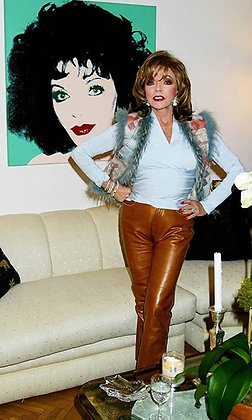 Brown French Leather Pants Worn in Magazine Shoot