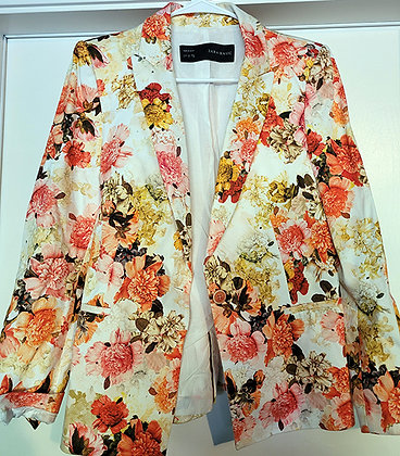 Zara Basic Multicolored Floral Blazer