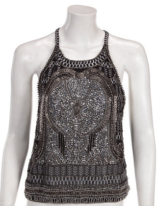 Silver Beaded Embroidered Top