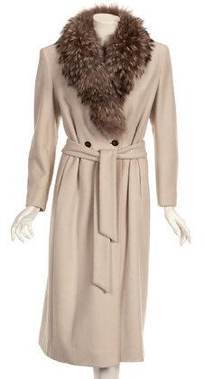 Louis Feraud Faux Fur Collared Coat
