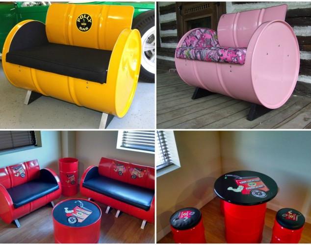 Bútor újrahasznosított hordókból