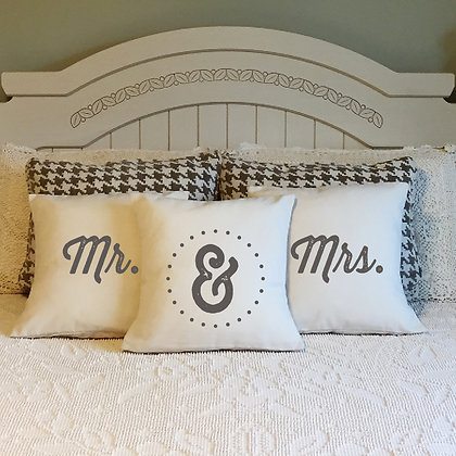 "Throw Pillow - ""Mr. and Mrs."" set of 3"