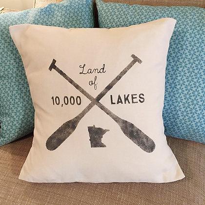 """Throw Pillow - """"Minnesota - Land of 10,000 Lakes"""""""