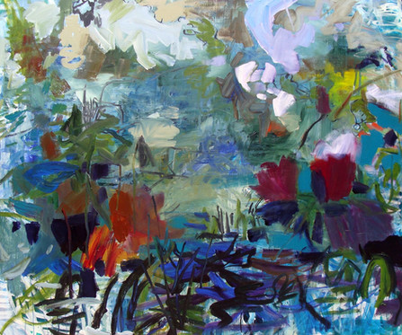 Lily Pond, 60 x 72, Acrylic, Ink, Canvas, 2017
