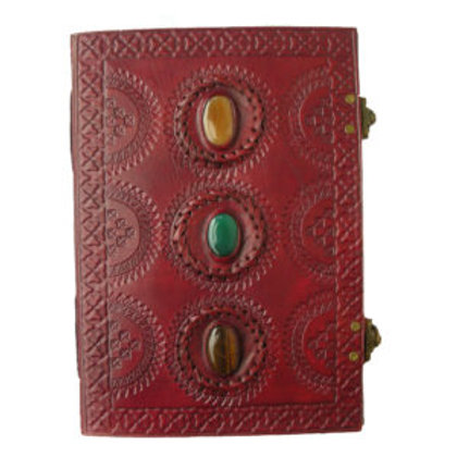 LEATHER BOUND JOURNAL LARGE 3 STONE