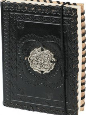 LEATHER BOUND NOTE BOOK BLACK WITH SILVER COVER PIECE