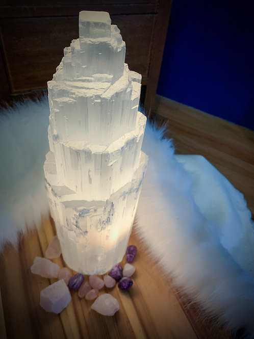 SELENITE CRYSTAL TOWER LAMP X-LARGE