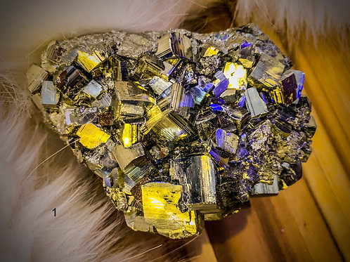 PYRITE CLUSTER NATURAL CUBES MINERAL GEODE