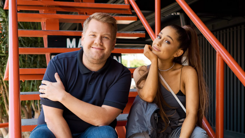 Ariana Grande and James Corden Visit Haunted Escape Room