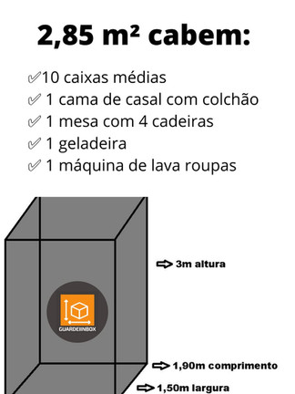 2, 85 m² (Tamanho referente à 1 box)