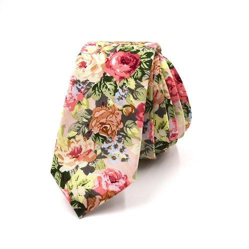 Béžová květinová kravata