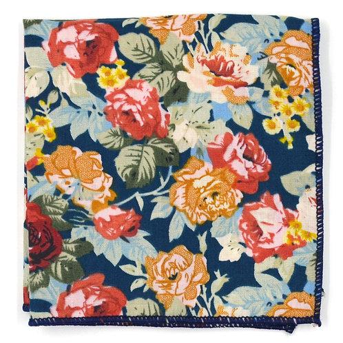 Květinový modro - ružový kapesníček do saka