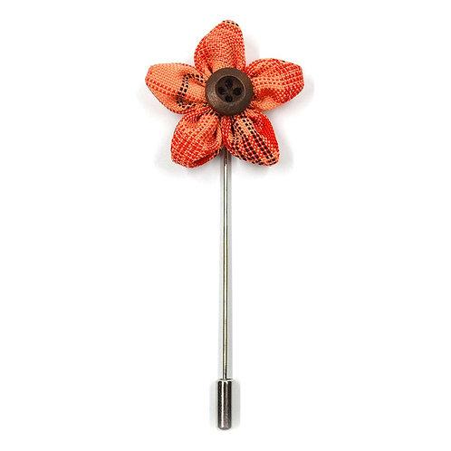 Oránžová květinka - ozdoba do klopy
