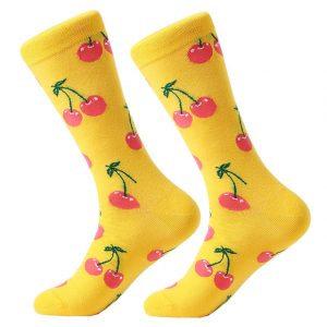 Barevné ponožky - Žluté třešně