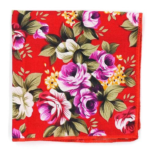 Květinový červený kapesníček do saka