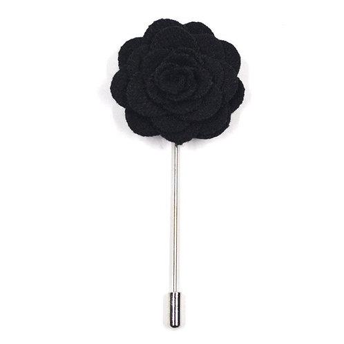 Černá květina - ozdoba do klopy