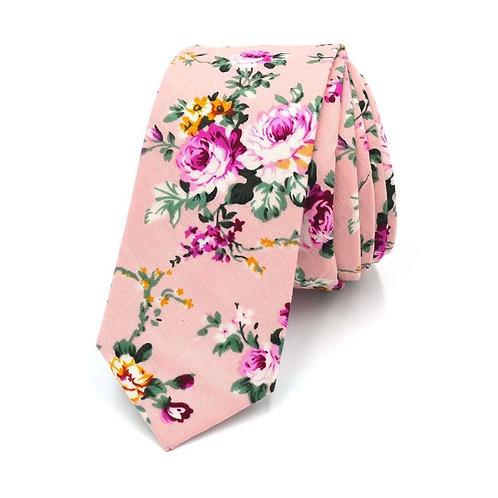 Růžová - květinová kravata